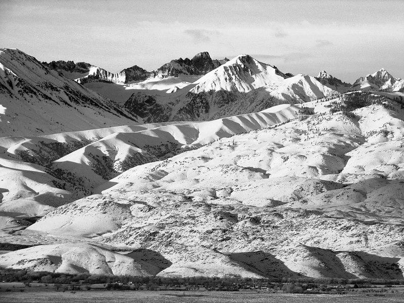 Black and White, North Palisade Winter Sunrise