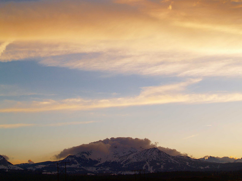 Sunset, the Minarets<br /> Mammoth Mountain in Cloud