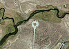 Hot Creek Interpretive Water - Google Earth<br /> Mammoth Creek enters from upper left. Hot Creek enters from lower left. The fence lines delimiting the interpretive water are visible close to the edges of the image.