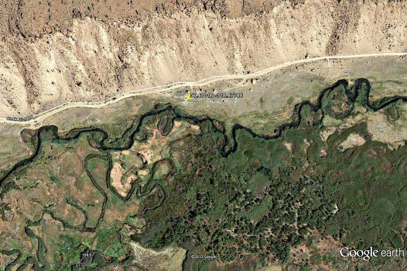 Lower Owens-Bishop Special Regs Waters<br /> 06-Rocks_by_road-Two_gates<br /> 37.41016 -118.47744<br /> Aerial View