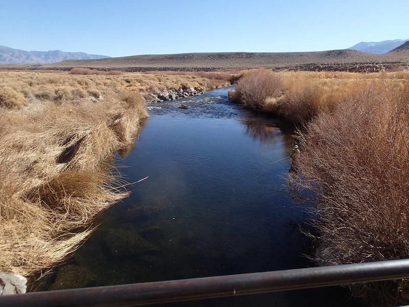Lower Owens-Bishop Special Regs Waters<br /> 02-Footbridge_down<br /> Foot Bridge below Campground<br /> 37.40626 -118.50219<br /> View down from bridge