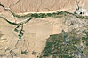 Bishop Overview from Google-Earth<br /> Pleasant Valley Reservoir lies at the top left. The Chalk bluff runs from there to the 5 Bridges area at the far right top. Bishop is the green area at the lower right. US-395 and US-6 are labeled. The following 21 images, 00 to 20 are Google-Earth images labelled by the GPS  coordinates and brief descriptions of gates and turnoffs from west to east as seen along Chalk Bluffs Road.