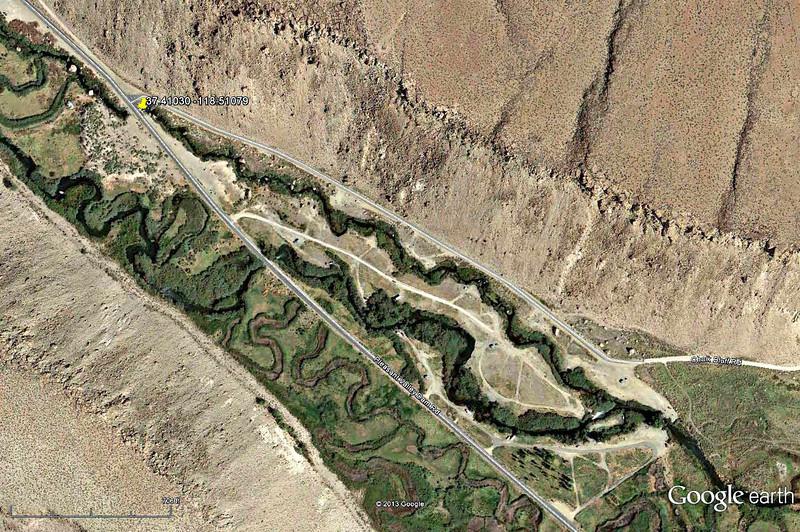 Lower Owens-Bishop Special Regs Waters<br /> 01-Campground<br /> Foot Bridge below Campground<br /> 37.40626 -118.50219<br /> Aerial View