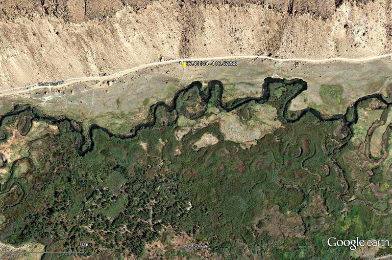 Lower Owens-Bishop Special Regs Waters<br /> 07-Rocks_Dead_tree<br /> 37.41104 -118.47288<br /> Aerial View