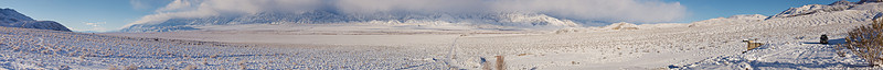A storm, still over the Sierra crest, has filled the Owens Valley with snow. From near the mouth of Mazourka Canyon, east if Independence.<br /> <br /> Place the cursor over the image and select X3Large for larger view.