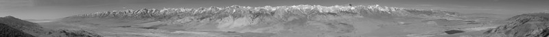 "Mazourka Peak -- High Sierra View From the Inyo's on the far left to White Mountain at the far right. Early Morning May 6, 2008 Black and White High Contrast and High Resolution  It's about 6MB for 27000x1800 Be patient if you pick this size. There is enough detail to pick out roads and trails on the Sierra east face. Scrolling will be necessary.  <a href=""http://www.dbdimages.com/photos/332169407_aXAxZ-O.jpg""TARGET=""blank"">View VERY large in another window.</a> Use your viewer's zoom function if necessary and be sure to use the sliders."
