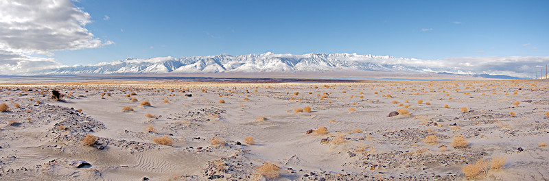 The Southern Sierra Crest after a winter storm, from the east end of the dry bed of Owens Lake.