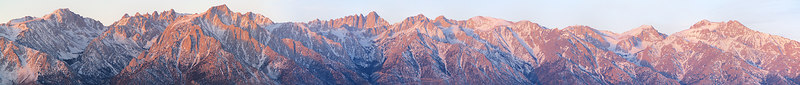 """Mt Whitney Region Winter Sunrise 1 Right section. Langley, Corcoran, Lone Pine, Muir, Whitney, Carillon, Trojan, Williamson  <a href=""""http://www.dbdimages.com/photos/71171208_UK58b-O-1.jpg""""TARGET=""""blank"""">View large in another window.</a> Use your viewer's zoom function if necessary and be sure to use the sliders."""