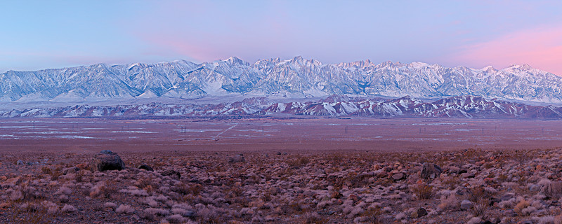 "Predawn light in the Owens Valley with clouds over the Sierra Nevada. The leftmost peak is Owens Point, the rightmost is Mount Williamson, a span of 14 miles.  <a href=""http://www.dbdimages.com/photos/896172184_GGbnP-O-1.jpg""TARGET=""blank"">View large in another window.</a> Use your viewer's zoom function if necessary."