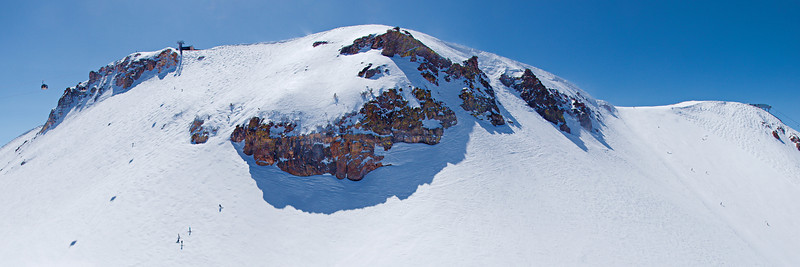 "The upper mountain, Climax to the left, Cornace to the right and Hangman's in the sun just right of the center cliffs, from the top of Chair 3.  <a href=""http://www.dbdimages.com/photos/897199922_uYkuw-O.jpg""TARGET=""blank"">View large in another window.</a> Use your viewer's zoom function if necessary."