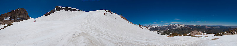 Panorama from the top of Chair 3 to the top of the mountain to Mono Lake looking up the Cornice.<br /> June 17, 2010