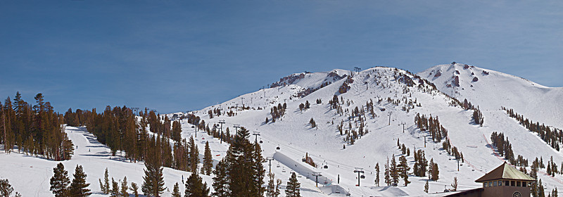"Mammoth Mountain viewed from the base. The Panorama Gondola, Chair 1 and Chair 23 on the skyline.  <a href=""http://www.dbdimages.com/photos/897201220_P69e5-O.jpg""TARGET=""blank"">View large in another window.</a> Use your viewer's zoom function if necessary."