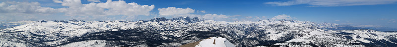 """The Ritter Range and beyond above the top of Chair 23 On the skyline: . Iron Mountain . The Minarets . Mount ritter . Mount Banner . Donahue Peak . Blacktop Peak . Parker Peak . Mount Wood  <a href=""""http://www.dbdimages.com/photos/76433023_xZ8Cq-O.jpg""""TARGET=""""blank"""">View large in another window.</a> Use your viewer's zoom function if necessary."""