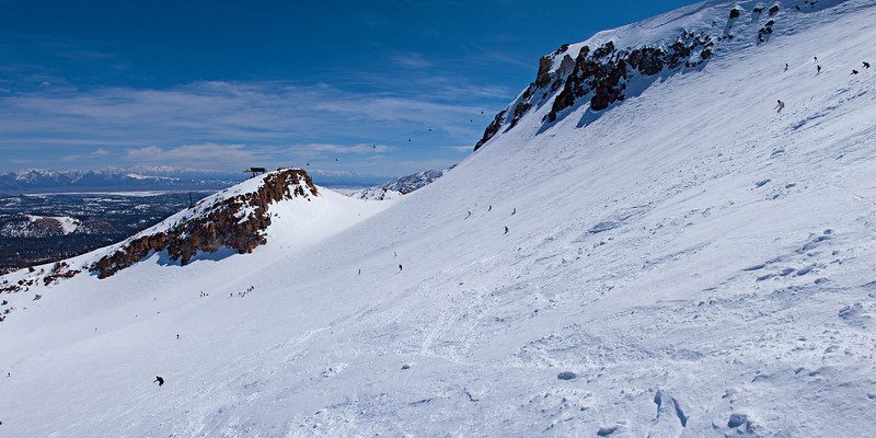 Looking across the Cornice run to the top of Chair 3 with Glass Mountain and the White Mountains in the distance.