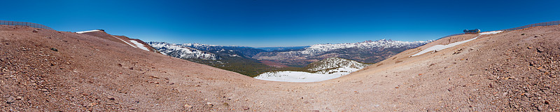 The panoramic view southwest from the top of Mammoth Mountain. The top of the Panorama Gondola is at the left. The top of chair 23 is to the right. The sun has stripped the snow from the south face of the mountain by mid-June even though the mountain stayed open until July 5,<br /> June 17, 2010.