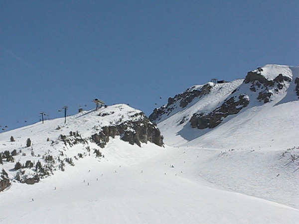 "The top of Chair 3 forms the left skyline. Climax drops from the top of the mountain on the right. The ""backside of 3"" and the top of St Anton form the foreground. (Nine seconds of time-lapse.)<br /> March 27, 2010."