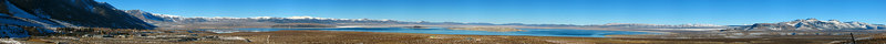 From the south, the view of Mono Lake runs from Lee Vining on the left-west then across the lake to the distant northern end of the White Mountains and finally Mono Craters.
