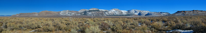 """Mono Craters, Crater Mountain, 9172' is the high point. Aeolian Buttes are at the far right.  <a href=""""http://www.dbdimages.com/photos/76433204_xqCtJ-O.jpg""""TARGET=""""blank"""">View large in another window.</a> Use your viewer's zoom function if necessary and be sure to use the sliders."""