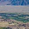 Closeup view northeast over Lone Pine and the Alabama Hills.