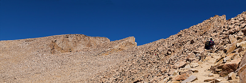The summit of Mount Whitney and Keeler Needle lead hikers along the summit ridge trail.