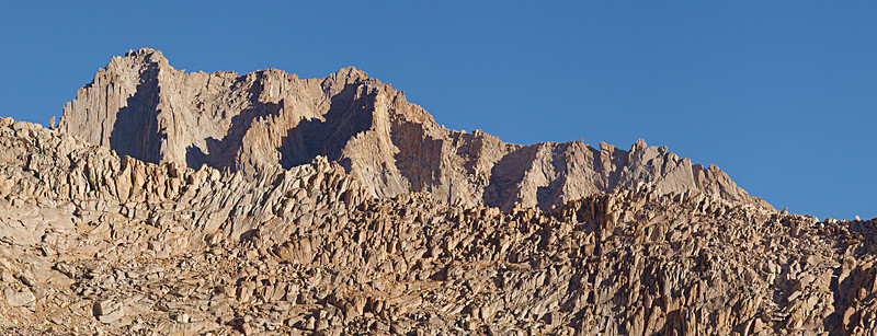 """As the trail climbs the switchbacks, Mount Russell pops into view over the intervening Pinnacle Ridge.  <A HREF=""""http://dbdimages.smugmug.com/photos/200988465-O.jpg""""TARGET=""""blank"""">View Larger Image</A> (And use your browser's zoom if necessary.)"""
