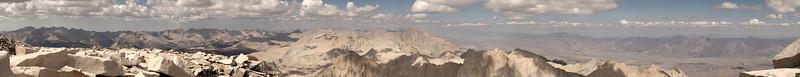 """Northwest-North-Northeast from Whitney Summit September 28, 2008  Clouds and haze limit the visibility of distant peaks. The next image is a contrast enhanced, color exaggerated version of this image, modified to increase visual contrast.   <A HREF=""""http://dbdimages.smugmug.com/photos/397007558_yJvUi-O.jpg""""TARGET=""""blank"""">View Larger Image</A> (And use your browser's zoom if necessary.)"""
