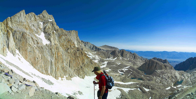 """The Switchbacks, Mount Muir, Mount Russel East Ridge,  Mount Carillon, Wotan's Throne, the Inyo Mountains 2006-07-16  <a href="""""""">Return to Viewing Gallery</a>"""