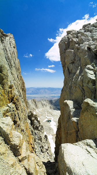 """Mount Whitney Ridge from the south A Window through Mount Whitney Ridge Pinacle Ridge, the Owens Valley, Inyo Mountains 2006-07-16  <a href=""""http://www.dbdimages.com/photos/82879226_UsKDR-O.jpg""""TARGET=""""blank"""">View large in another window.</a> Use your viewer's zoom function if necessary and be sure to use the sliders."""