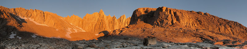 """Trail Camp Sunrise The Switchbacks, Mount Muir, Wotan's Throne  <a href=""""http://www.dbdimages.com/photos/79038805_pkRbP-O.jpg""""TARGET=""""blank"""">View large in another window.</a> Use your viewer's zoom function if necessary and be sure to use the sliders."""