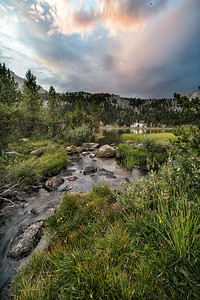 High Sierra Stream at Sunset