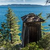 An old wooden lighthouse overlooks Lake Tahoe.