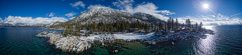 Sand Harbor Aerial at Lake Tahoe in the winter