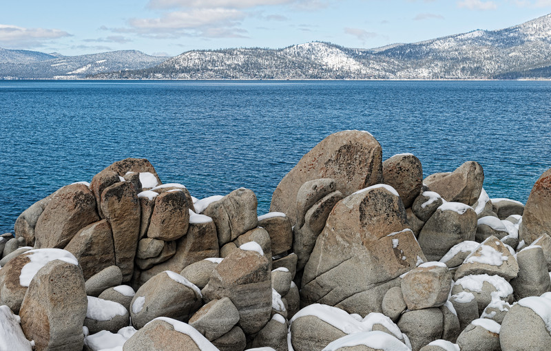 Sand Harbor Rocks and Snow
