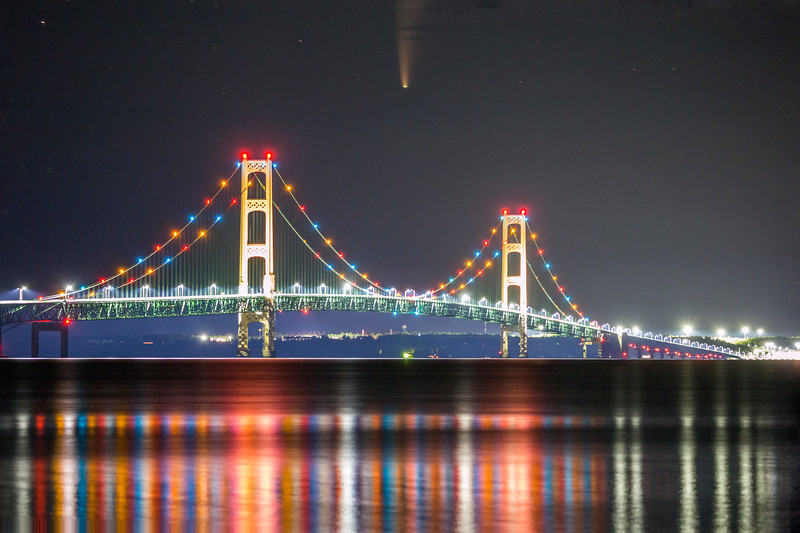 Comet NEOWISE over the Mackinac Bridge