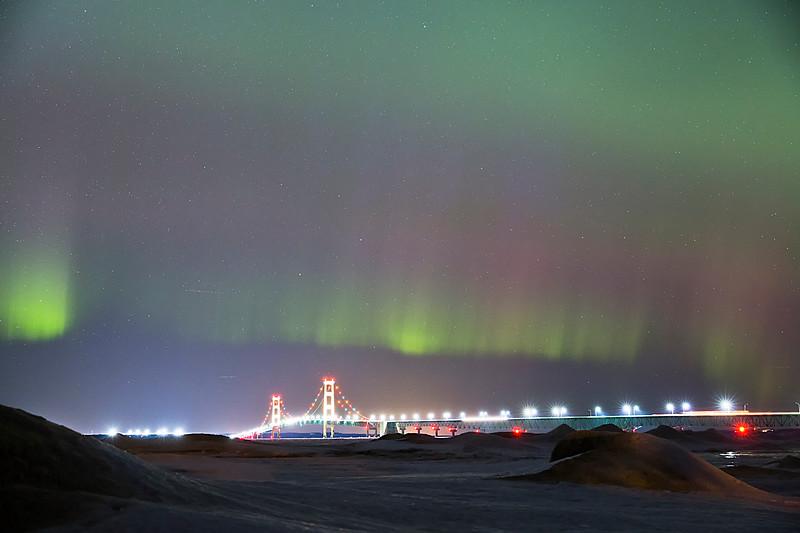 Winter Northern Lights over the Mackinac Bridge