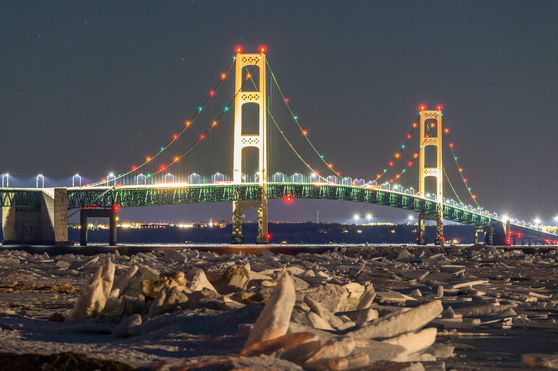 Mackinac Bridge Ice Piles