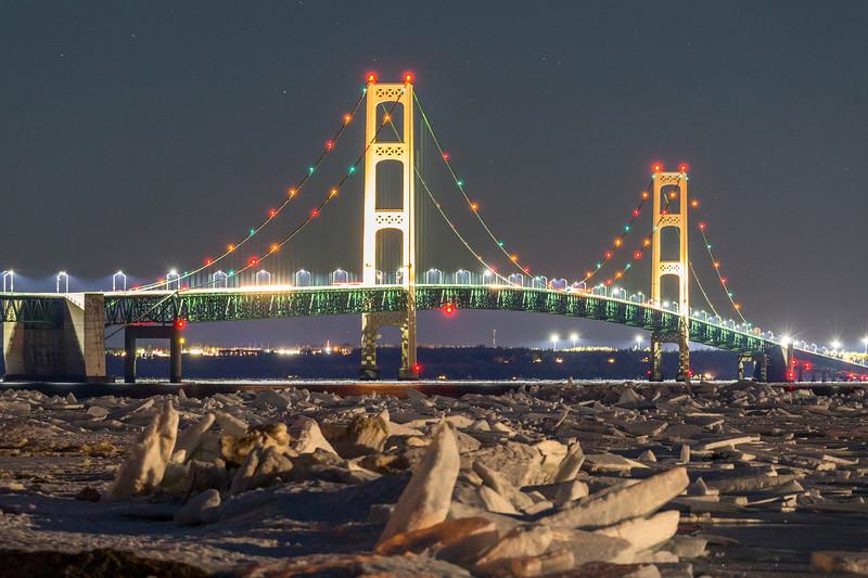 Mackinac Bridge Ice Piles