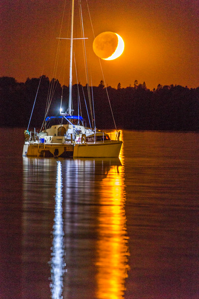 Crescent Moonset with Sailboat 1