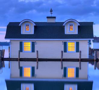 Yellow Boathouse Reflections