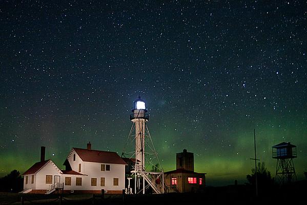 Whitefish Point Lighthouse aurora III