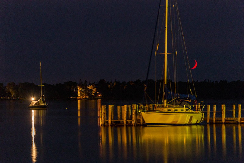Red Crescent Moon with sailboats