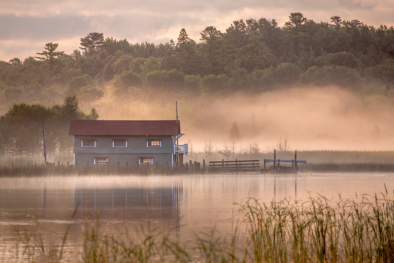 Wayside Boathouse in the Fog