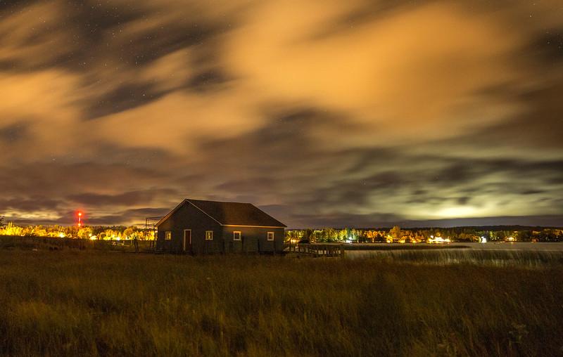 Blue Boathouse at Night