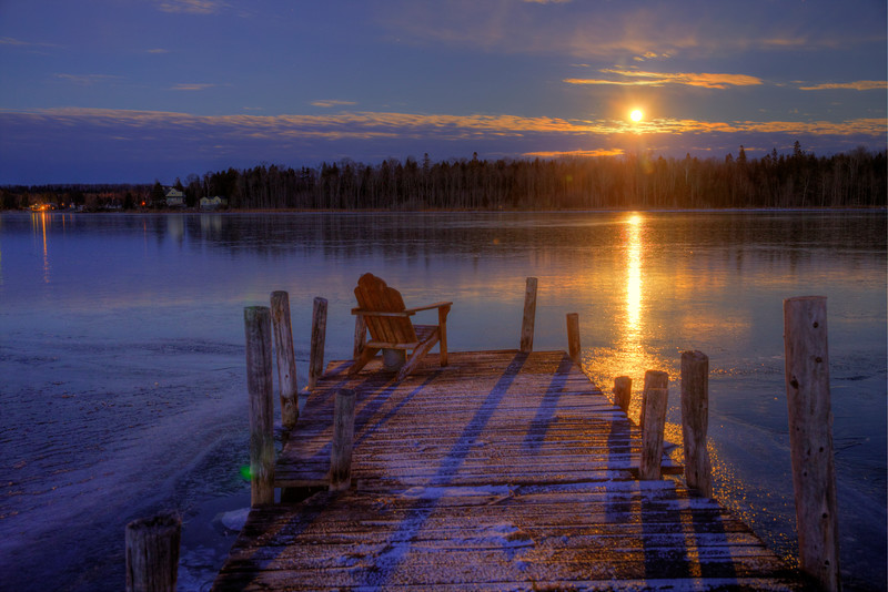 Moonrise over Cedarville Bay