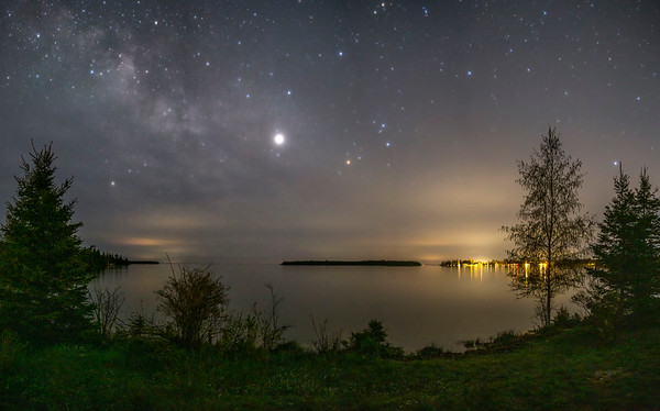 Jupiter and the Milky Way over Prentiss Bay and Cedar Campus