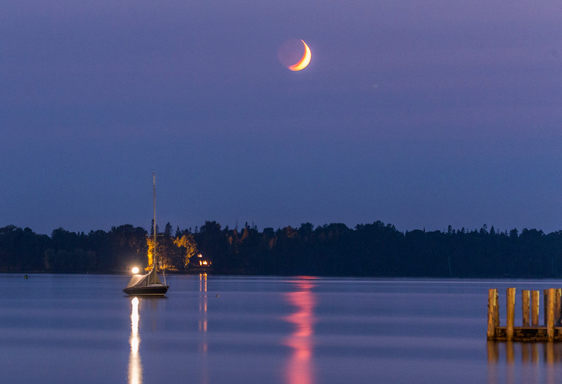 Crescent Moon and Sailboat
