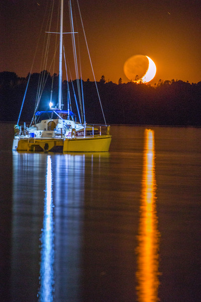 Crescent Moonset with Sailboat 2