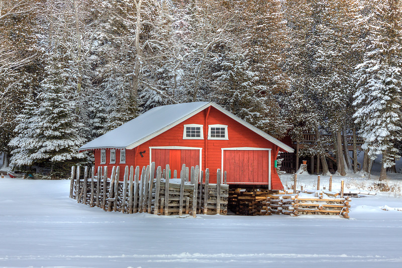 Red Boathouse in Winter