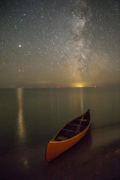 Milky Way over Lake Huron Canoe