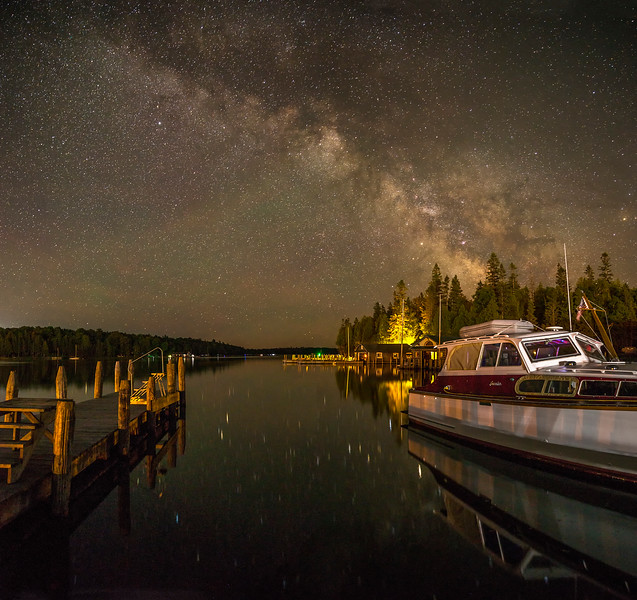 Antique Wooden Cruiser under the Milky Way